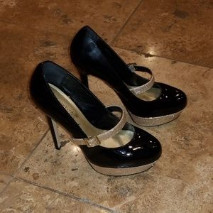 Patent Leather Glitter Pumps
